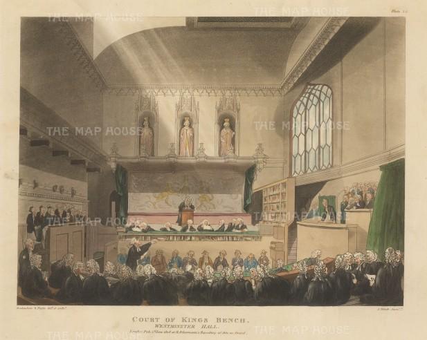 "Ackermann: Court of the King's Bench. 1808. An original colour antique aquatint. 11"" x 9"". [LDNp8745]"