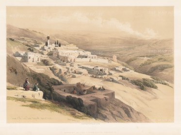 "Roberts: Nazareth, Holy Land. 1844. A hand coloured original antique lithograph. 22"" x 16"". [MEASTp1014]"