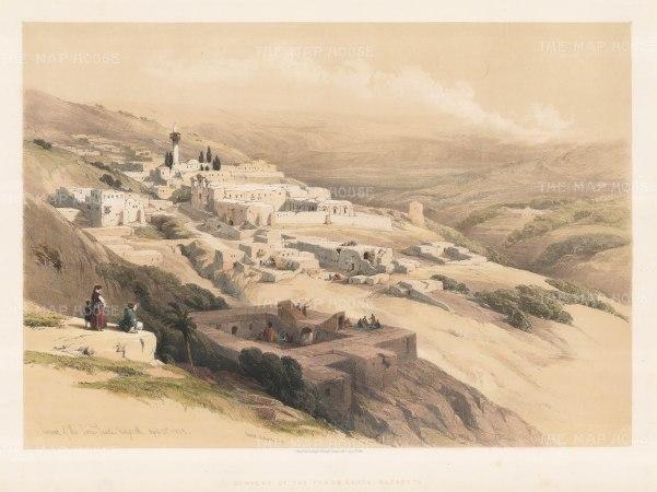 "Roberts: Nazareth, Holy Land. 1844. A hand coloured original antique lithograph. 22"" x 16"". [MEASTp1014]"