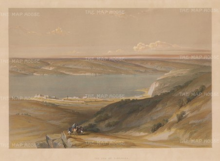 Galilee: Sea of Galilee also known as Lake Tiberias. Panoramic view showing the sea and surrounding mountains.