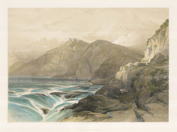 Cape Blanco: Ras El Abiad. View along the coast described by Roberts as one of the most sublime scenes in Syria.