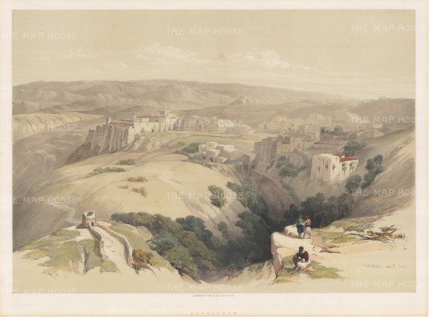 Bethlehem from the hills. Sacked by the Emperor Hadrian in the 2nd Century, the city was largely rebuilt in the 4th century.