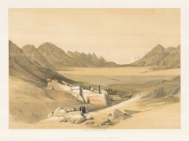 Mount Sinai: Convent of St.Catherine, looking towards the ruin of the encampment.