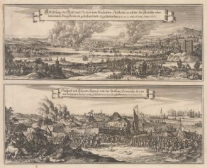 Battle of Medway June 1667: Infamous raid on the Thames through Rochester, Chatham and the Isle of Sheppey. After Romeyn de Hooghe's engraving after Willem Schellink, first published by Nicolas Visscher in 1667. Second Anglo-Dutch War.