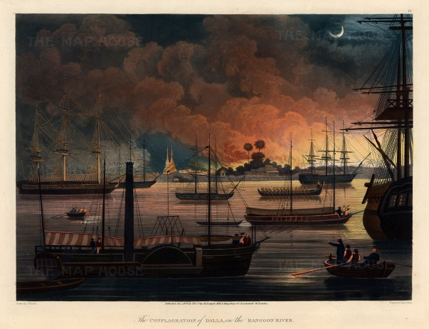 Dalla on the Rangoon (Yangon River): Burning plain of Dalla with the British Fleet in the harbour including HMS Diana, the first steam-powered warship of the East India Company newly armed with Congreve rockets.
