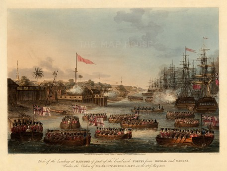 Rangoon (Yangon): First Anglo-Burmese War. Landing of the combined forces of British Infantry, Bombay Marine and the East India Company's private arrmies from Bengal and Madras.