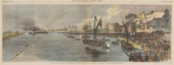 Oxford and Cambridge Boat Race: Barnes Bridge towards Chiswick.
