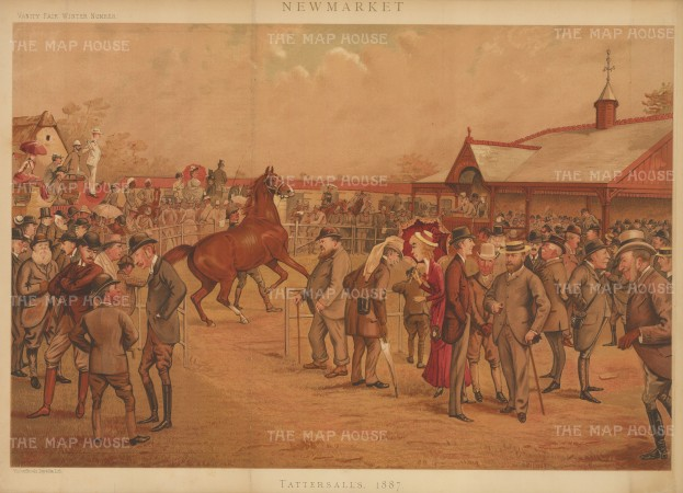 Newmarket: Tattersall's. Caricature of an Auction with the Prince of Wales, Prince Saltykoff, the Duke of Beaufort, the Duke of Hamilton, the Duke of Westminster, Lord Falmouth, Lord Zetland, Lord Cadogan, Lord Rosslyn, Lord Hastings, Lord Calthorpe, Lord Ailesbury, Hon HW Fitzwilliam, Sir George Chetwynd, James Lowther, Col Forrester, Capt Machell, Mr Benzon, Mr Tattersall and others.By the racing caricaturist LIB (Liberio Prosperi).