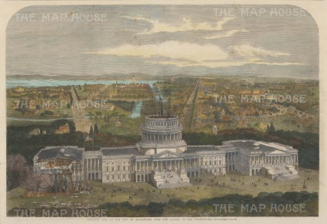 Bird's Eye view towards the Patuxant river with the Capitol under construction.