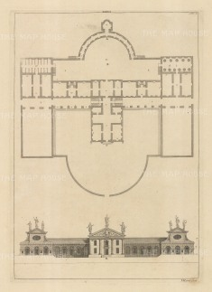 Architectural Elevation: Facade and plan. XXXVI.