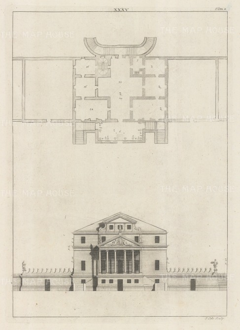 Architectural Elevation: Facade and plan. XXXV