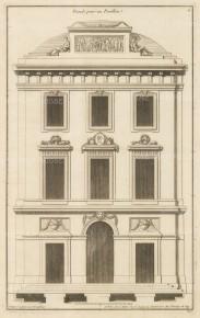"""De Neufforge: Pavilion Facade. 1775. An original antique copper engraving. 9"""" x 14"""". [ARCHp929]"""