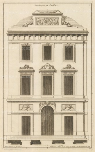 "Deneufforge: Pavilion Facade. 1775. An original antique copper engraving. 9"" x 14"". [ARCHp929]"