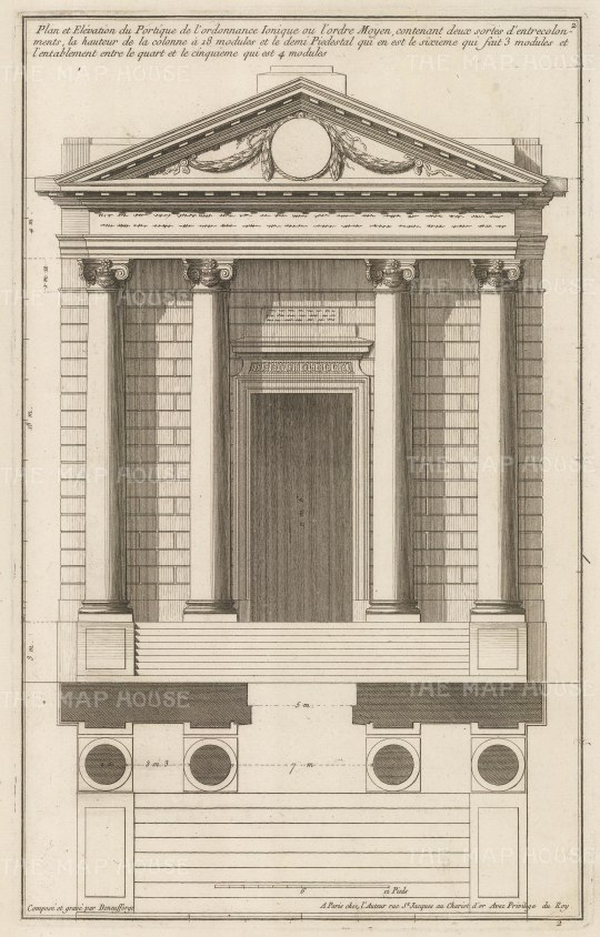 Plan and Elevation of an entrance in the Ionic Order.