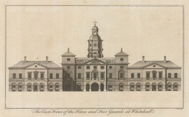 Whitehall Palace: Horse and Foot Guards East Facade. Destroyed in the fire of 1698 and replaced by Royal Horseguards.