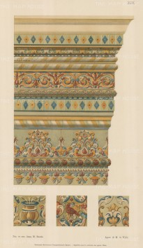 Russian Imperial Collection: Painted Architectural interior relief with three details.