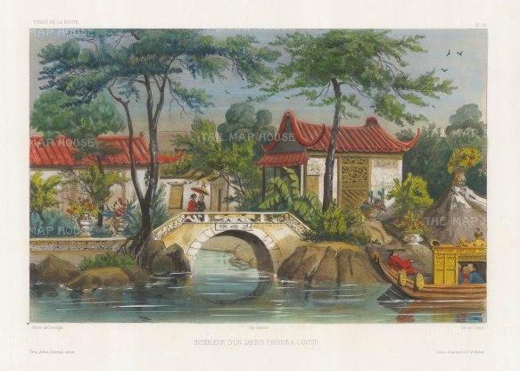 Garden at Canton: After Barthélemy Lauvergne, one of the artists on the voyage of La Bonite, 1836-7.