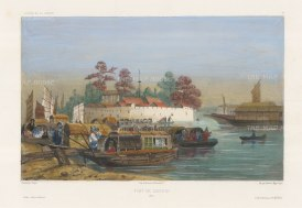 Canton: View of the Fort on the banks of the Pearl River. After Théodore-Auguste Fisquet, one of the artists on the voyage of La Bonite, 1836-7.