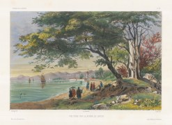 Pearl River, Canton: View on the bank of the Pearl River. After Barthélemy Lauvergne, one of the artists on the voyage of La Bonite, 1836-7.