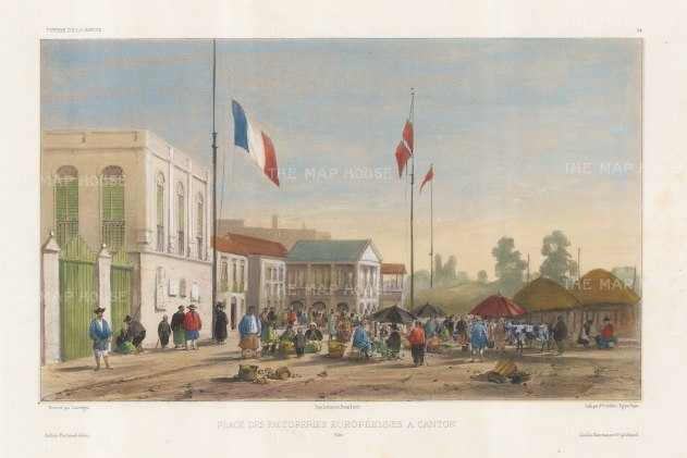 Guangzhou: European Factories. With a market scene and a French flag. After Barthélemy Lauvergne, one of the artists on the voyage of La Bonite, 1836-1837.