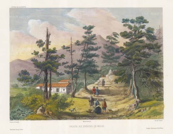 View of a pagoda beside a mountain path. After Barthélemy Lauvergne, one of the artists on the voyage of La Bonite, 1836-7.