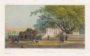 Macau: View of the Chinese Pagoda. With figures in the foreground. After Barthélemy Lauvergne, one of the artists on the voyage of La Bonite, 1836-7.
