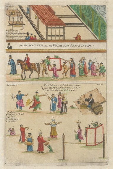 Procession of the Bride and Bridegroom. Manner of dancing and playing instruments.