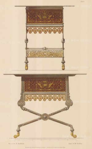 Russian Imperial Collection: Iron, Brass and Painted Campaign Table. Front and side perspectives.