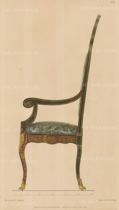 Russian Imperial Collection: Boule inlay Side Chair with blue damask seat.