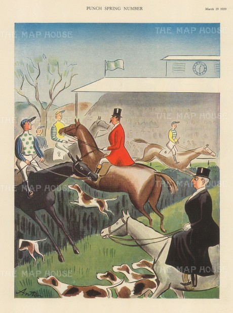"Punch: Hunting. 1939. An original vintage chromolithograph. 8"" x 10"". [FIELDp1534]"