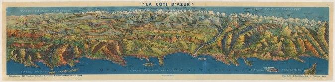 """Syndicate d'Initiative: La Cote d'Azur. c1950. An original vintage colour print. 36"""" x 9"""". [FR3201]"""