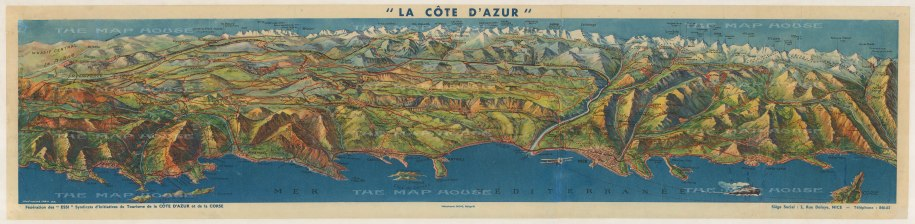 La Cote dAzur: Promtional panoramic map of the South coast of France from Menton to Toulon.