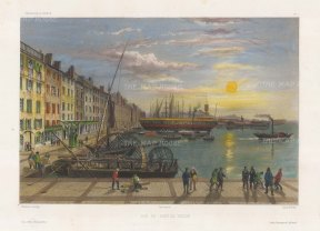 Toulon: View of the port. After Barthelemy Lauvergne, artist on the voyage of La Bonite 1836-7.