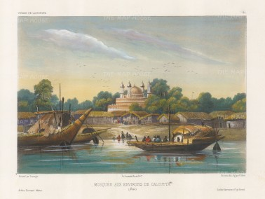 Hooghly River: View of a mosque in the then suburbs. After Barthélemy Lauvergne, artist on the voyage of La Bonite 1836-7.