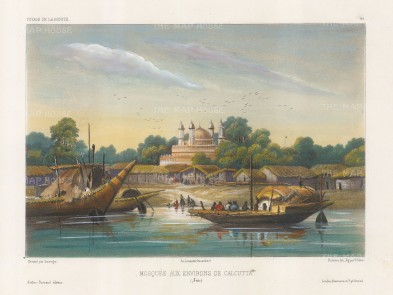 Hooghly River:View of a mosque in the then suburbs. After Barthelemy Lauvergne, artist on the voyage of La Bonite 1836-7.