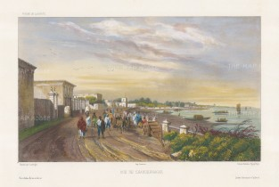 Chandannagar: View of the harbour on the Hooghly River. After Barthélemy Lauvergne, artist on the voyage of La Bonite 1836-7.