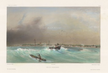 Pondicherry: View of the coastline from the Bay of Bengal. After Barthélemy Lauvergne, artist on the voyage of La Bonite 1836-7.