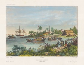 Diamond's Harbour (Hajipur): View of the inlet on the Hooghly river, now in the southern part of the city. After Barthélemy Lauvergne, artist on the voyage of La Bonite 1836-7.