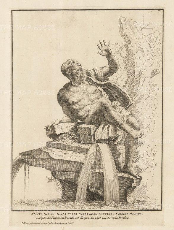 SOLD. Figure of the Rio del Plata. Grande Fountana di Piazza Navona.