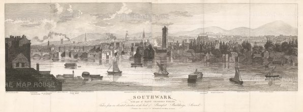 Panoramic view of Southwark and St George's Fields from the Strand: Looking from the west end of Somerset place through Lambeth to St Mary Newington. With Key.