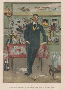 "Punch: Gentleman of refined tastes. 1905. A hand coloured original antique chromolithograph. 8"" x 11"". [MISCp5252]"