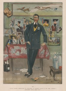 """Punch: Gentleman of refined tastes. 1905. A hand coloured original antique chromolithograph. 8"""" x 11"""". [MISCp5252]"""