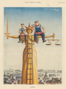 """Punch: Justice. 1939. An original vintage chromolithograph. 8"""" x 10"""". [MISCp5517]"""
