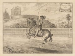 Dressage. Demy-air parle Droite. With Bolsover Castle in the background.