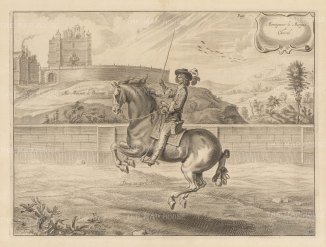 Dressage. Demy-air parle Droite. With Bolsover Castle in the background. Plate 30.