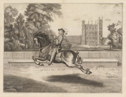 Dressage. Capriolles sur les Voltes a Main Gauche. With Bolsover Castle in the background. Plate 34.
