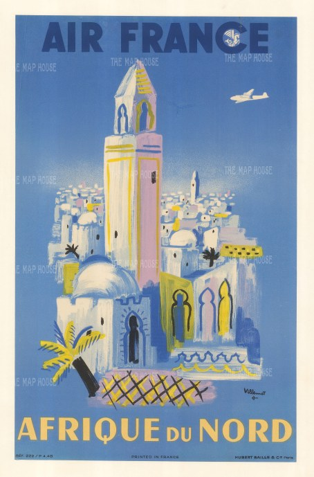 "Air France: Afrique du Nord. 1948. An original vintage chromolithograph. 13"" x 19"". [POSTERp299]"