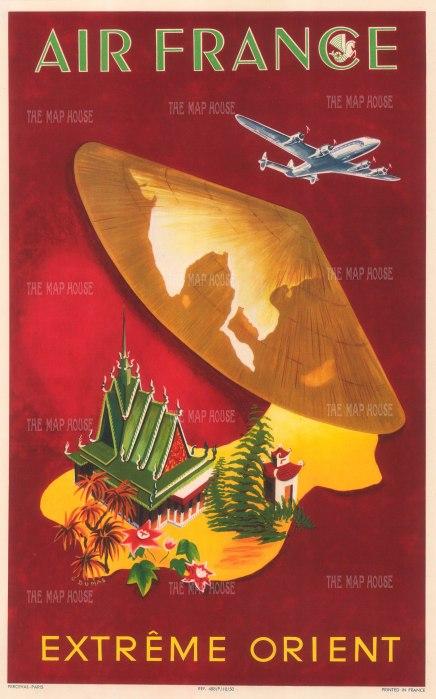 "Air France: Extreme Orient. 1950. An original vintage colour print. 12"" x 18"". [SEAS4863]"