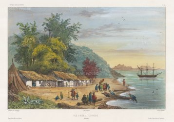 Tourane (Da Nang): View of the coast and the corvette La Bonite in the harbour. After Barthélemy Lauvergne, artist on the voyage of La Bonite 1836-7.