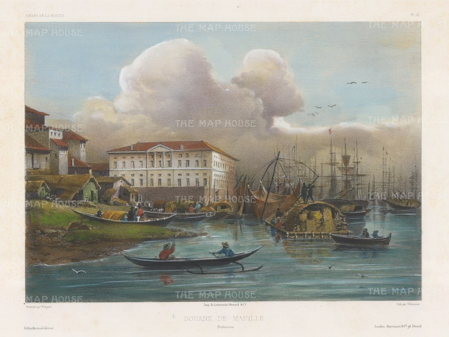 Manila: View of the Customs House (National Archive) on Plaza de Espana. After Théodore-Auguste Fisquet, one of the artists on the voyage of La Bonite 1836-7.